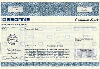 Osborne Computer Corporation - Image: Osborne Stock Certificate