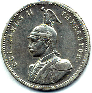 Imperator - German East African Roupie, 1890.  Coins of European Colonial Empires were sometimes inscribed in Latin, such as this colonial coin featuring Wilhelm II of Germany.