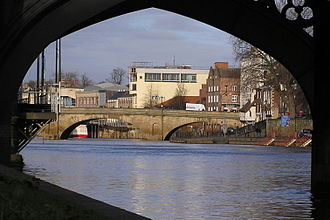 Bridges of York - Ouse Bridge from the South Bank, looking upstream through Skeldergate Bridge
