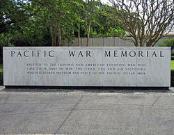 Marker of the Pacific War Memorial; 2006