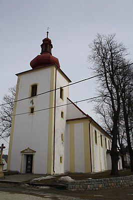 Overview of Saints Peter and Paul church in Rudíkov, Třebíč District.jpg