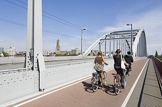 John Frost Bridge - The Fietspad or Bicycle Path on the bridge.