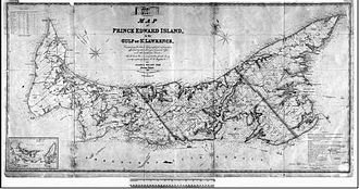 Francis Kelly (Canadian politician) - An 1874 Crown map of Prince Edward Island, similar to those Kelly would examine as Chief Commissioner of Crown Lands.