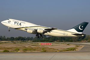 Multan International Airport - PIA Boeing 747-300 taking off from the newly renovated runway.