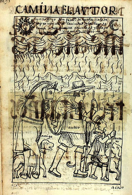 Guaman Poma de Ayala and his son on the way to Lima, illustration from his Nueva Coronica (NC, p. 1105) POMA1105.jpg