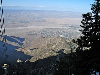 Palm Springs Aerial Tramway - A view of the Coachella Valley from a tramway car. Palm Springs, the San Andreas Fault, and Interstate 10 are visible.