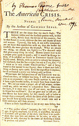 George Washington's crossing of the Delaware River - First page of Paine's The American Crisis