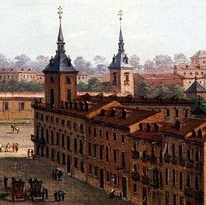 Palacio del Marqués de Alcañices - Palacio de los Alcañices from the opposite perspective of Puerta de Alcalá in the now Gran Vía, painted by Antonio Joli, between 1750 and 1754.