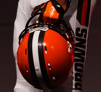 2015 Cleveland Browns season - Image: Pants and helmet Cleveland Browns New Uniform Unveiling