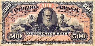 Brazilian real (old) - Image: Papel moeda 500 réis