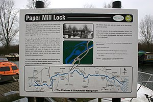 Chelmer and Blackwater Navigation - Sign at Paper Mill Lock