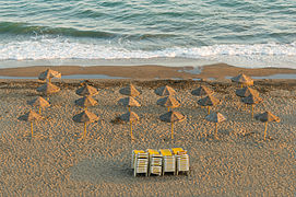 Parasols, Evening, Beach, Rincon de la Victoria, Andalusia, Spain.jpg