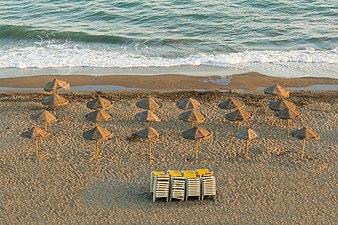 Parasols, Evening, Beach, Rincon de la Victoria, Andalusia, Spain.jpg
