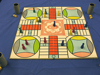 Parcheesi - A game of Parcheesi in progress