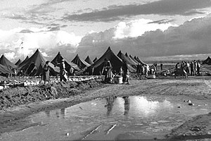 Palestinian refugees - Pardes Hana Immigrant Camp, 1956.