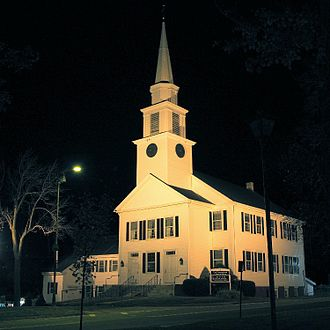 Paxton, Massachusetts - Paxton center church at night