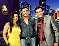 Payal Rohatgi & Sangram Singh with Sumeet Raghavan on the sets of Jay Hind show 02.jpg