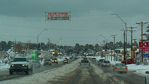 Payson, Arizona - Looking North on Highway 87 in Payson during snowfall.