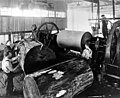 Peeling plywood from old growth fir using lathe, unidentified plywood mill, Washington, ca 1925 (INDOCC 339).jpg
