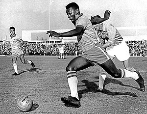 Malmö Stadion - Pelé playing for Brazil at Malmö Stadion in an exhibition match against Malmö FF in 1960