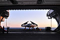 Personnel load a U.S. Navy X-47B Unmanned Combat Air System demonstrator aircraft on an aircraft elevator aboard the aircraft carrier USS George H.W. Bush (CVN 77) May 14, 2013, in the Atlantic Ocean 130514-N-FE409-028.jpg