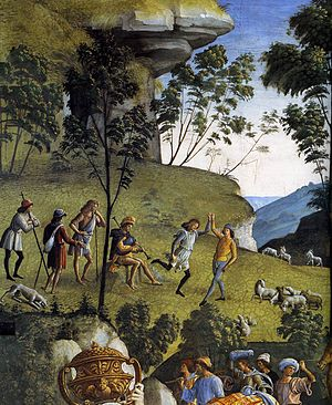 Moses Leaving for Egypt (Perugino) - Detail.