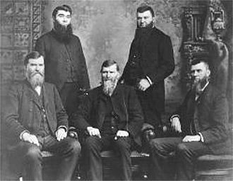 Studebaker - The five Studebaker brothers—founders of the Studebaker Corporation: Left to right, (standing) Peter and Jacob; (seated) Clem, Henry, and John M.
