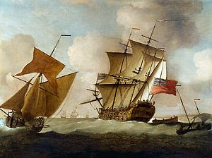 "Peter Monamy - ""A Third-rate joining her Squadron off Elizabeth Castle, Jersey"""