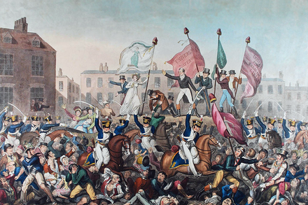 The Peterloo massacre of 1819 resulted in 15 deaths and several hundred injured Peterloo Massacre.png