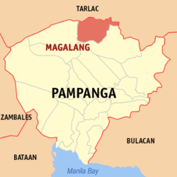 Map of Pampanga showing the location of Magalang.