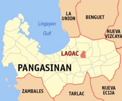 Map of Pangasinan showing the location of Laoac