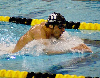 Most decorated Olympian of all time, American swimmer Michael Phelps Phelps 400m IM-crop.jpg