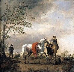 Cavalier Holding a Dappled Grey Horse