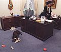 Photograph of Buddy the Dog Playing with Toys in front of Betty Currie's Desk in the Outer Oval Office- 02-06-1998 (6461528773) (cropped2).jpg