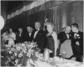 Photograph of the President and Mrs. Truman at the Jefferson-Jackson Day Dinner, during which the President announced... - NARA - 200382.tif