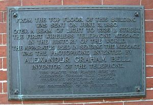 Photophone - A historical plaque on the side of the Franklin School in Washington, D.C. which marks one of the points from which the photophone was demonstrated