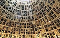 Photos and history of Holocaust victims frame the ceiling of the Hall of Names at Yad Vashem.jpg