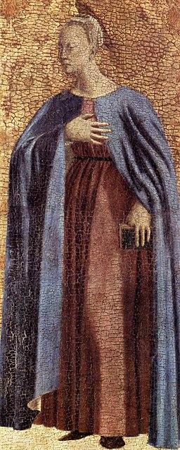 iero della Francesca,Polittico della Misericordia,1444-1465, particolare della Vergine Annunciata, Museo Civico, Sansepolcro