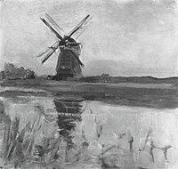 Piet Mondriaan - Oostzijdse mill, oil sketch in square format - A344 - Piet Mondrian, catalogue raisonné.jpg