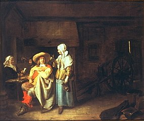 Soldier with maid and cardplayers in a tavern