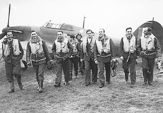 RAF Fighter Command - Propaganda shot of the fighter pilots of the Polish 303 squadron, 1940. Running low on pilots during the battle of Britain, Fighter Command accepted foreign pilots into its ranks.