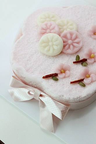 Rice cake - tteokcake, a birthday cake