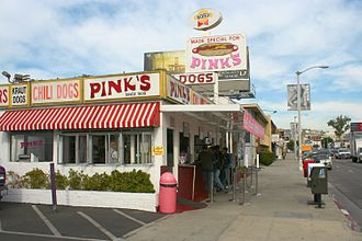 Hot dog stand - Pink's Hot Dogs in Hollywood. The current building dates to 1946.
