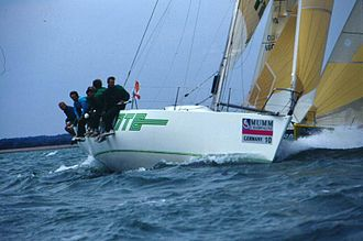 """Pinta (yacht) - Pinta in the Solent near """"West Lepe"""" mark, Admiral's Cup 1993"""