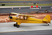 """A bright yellow, single-propeller light airplane is sitting on a paved surface at what appears to be an airport. A man is sitting in the pilot's seat, and the propeller is turning. On the tail of the plane is a logo consisting of a small bear holding a sign that says, """"Cub"""". The number on the tail rudder is N70843."""