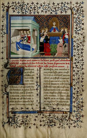 The Treasure of the City of Ladies - Author is kept from rest by the Three Virtues. Boston Public Library, Special Collections, MS f. Med. 101.
