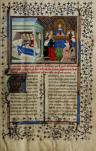 Christine de Pizan - One page of Pizan's book Le livre des trois vertus. In the illumination Pizan is kept from rest by the Three Virtues.