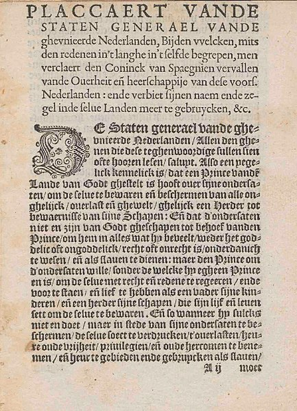 File:Plakkaat van Verlatinghe, pagina 1.jpg