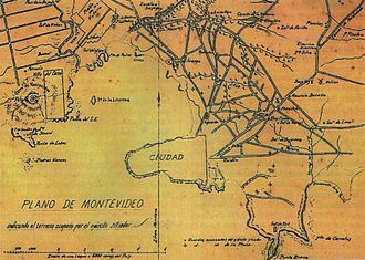 Montevideo - Map of Montevideo during the Guerra Grande (1843–1851).