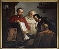 Plantin toont exemplaar van Biblia Regia aan Arias Montanus, Joseph Bellemans, schilderij, Museum Plantin-Moretus (Antwerpen) - MPM V IV 150.jpg